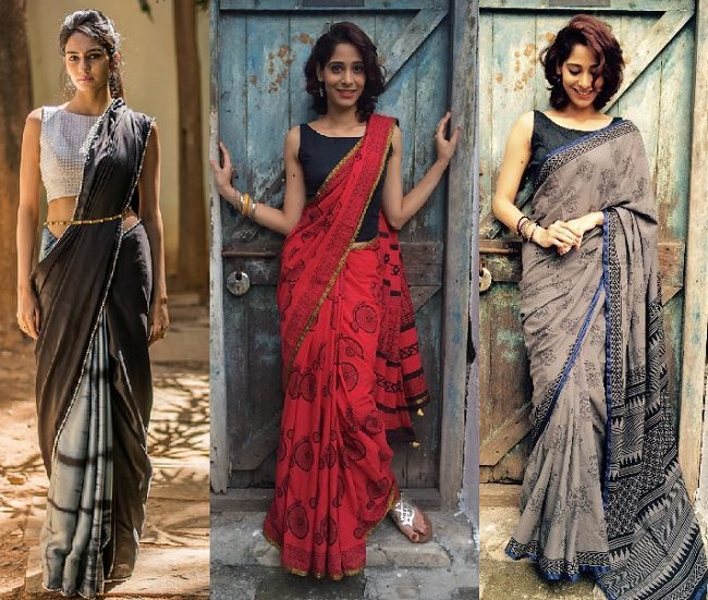 perfect saree style and matching blouse
