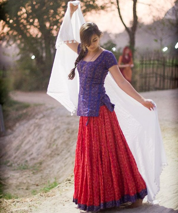 short kurta with ethnic skirt