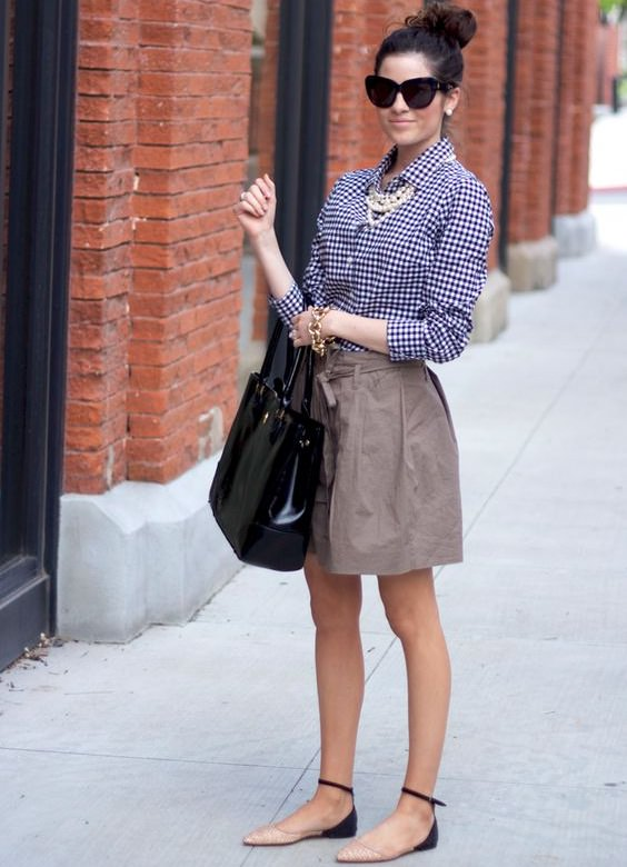 short skirt with gingham shirt