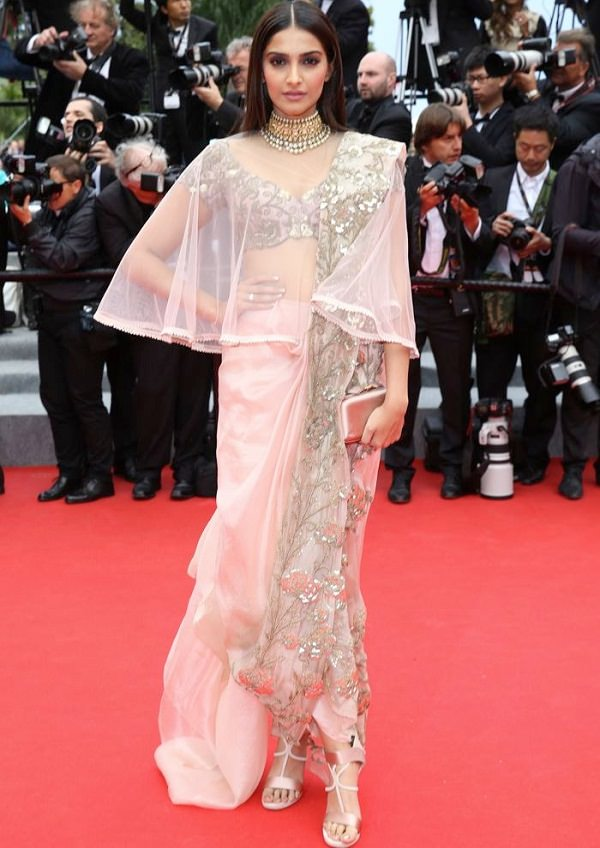 Dhoti Drape Spruced up with a sheer cape