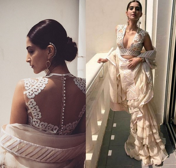 Sonam Kapoor in pink Abu Jani Sandeep Khosla saree at Cannes Film Festival 2015