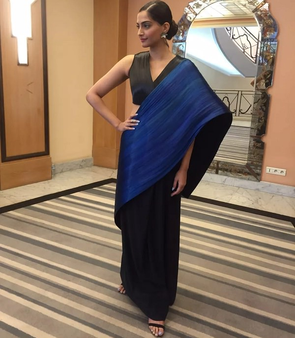 Sonam Kapoor in black and blue saree designed by Rimzim Dadu at Cannes