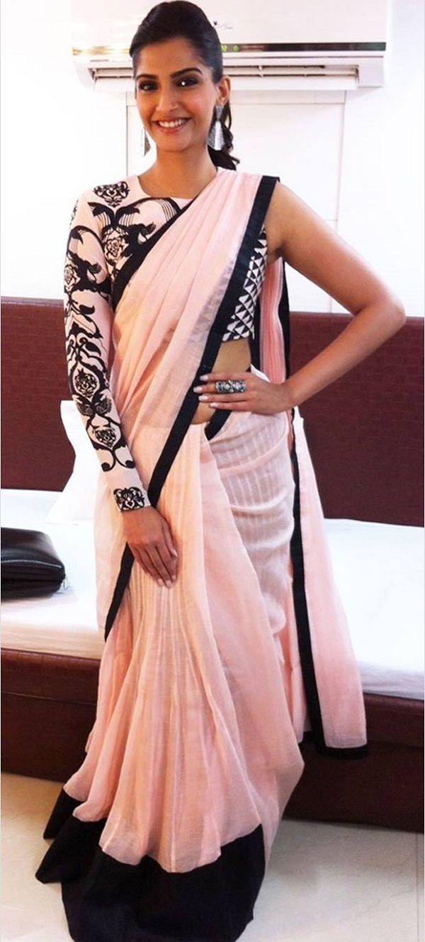 Sonam in Payal Singhal's Single Shoulder heavy floral pattern embroidery Blouse with plain Saree