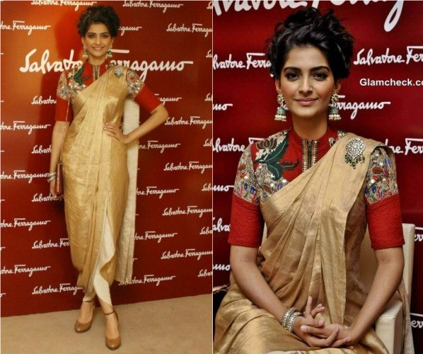 Sonam Kapoor in Chic Zip Front Blouse with golden saree