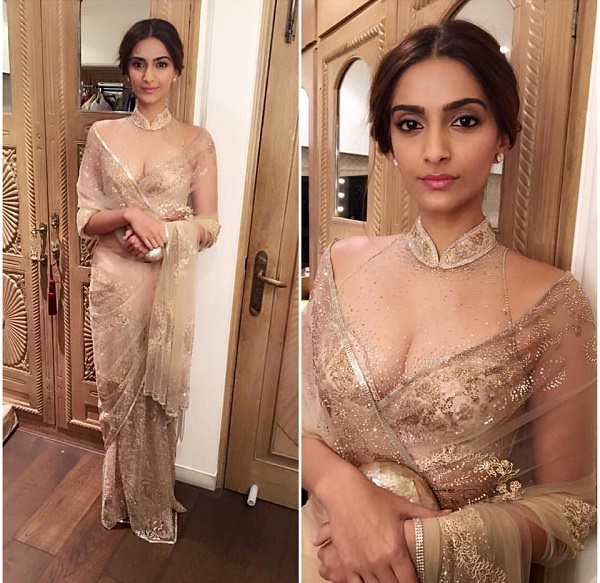 Sonam looks super sexy with Tarun Tahiliani designed Sheer Saree and Blouse