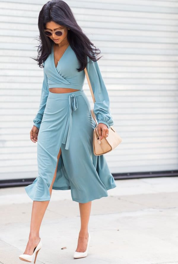 wrap skirt with balloon sleeve crop top