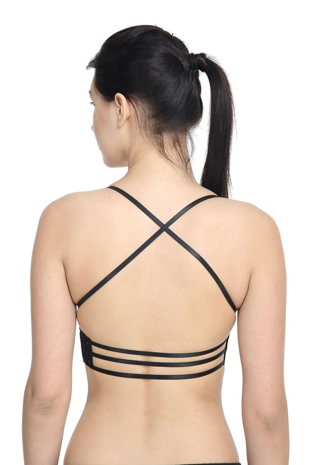 black bra with back string closure