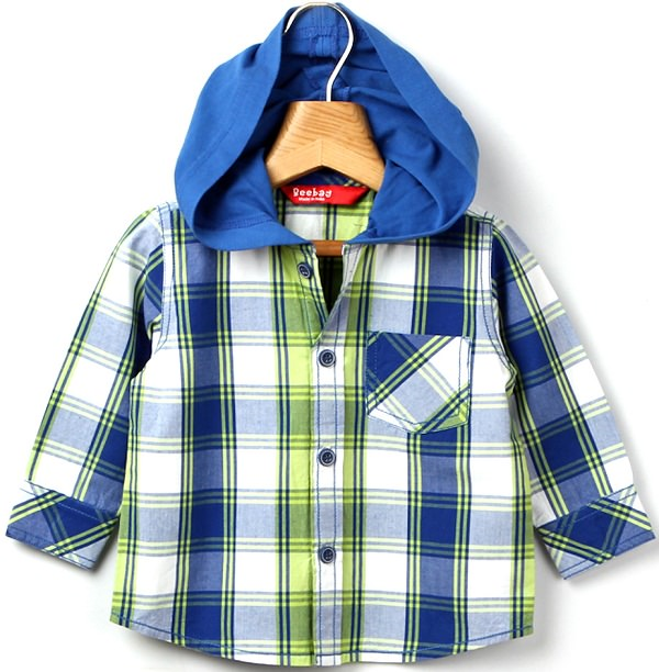 beebay blue checks hooded shirt
