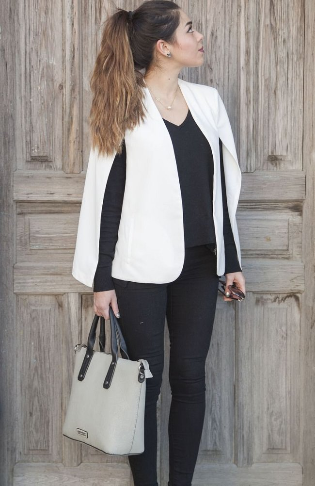 blazer capes with trouser, how to wear a blanket cape