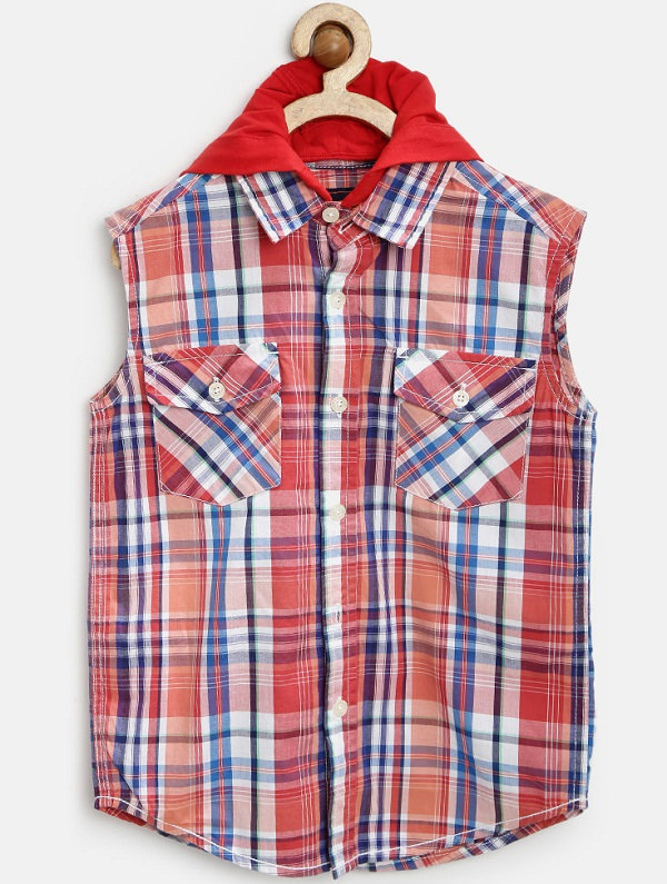 chalk by pantaloons red checked hooded shirt