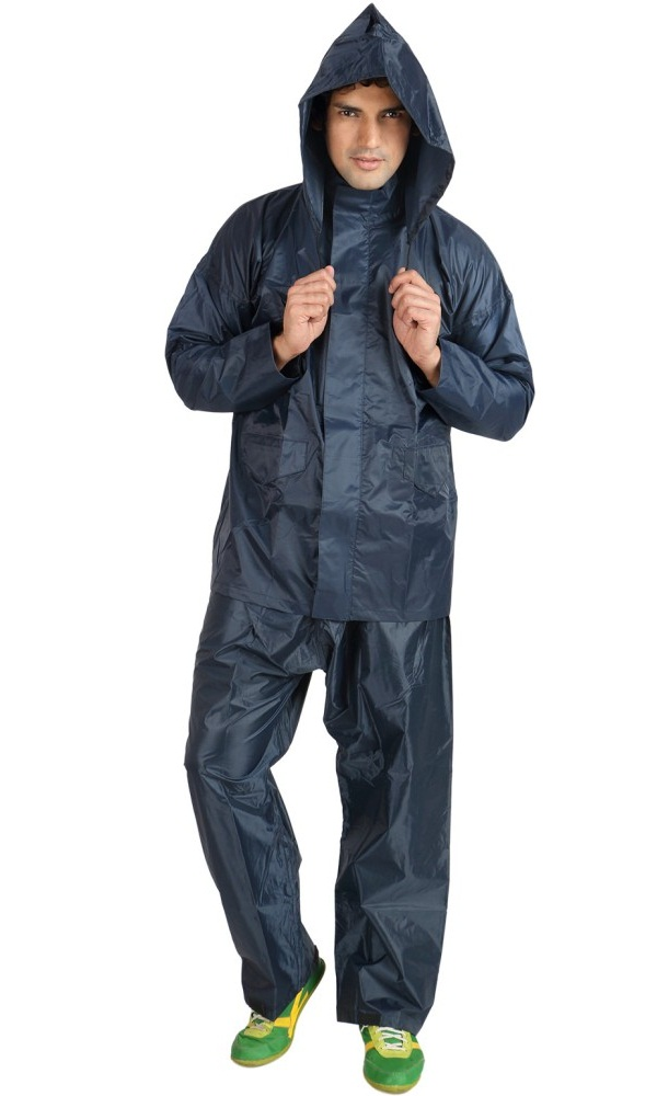 duckback blue solid raincoat, raincoat for men india
