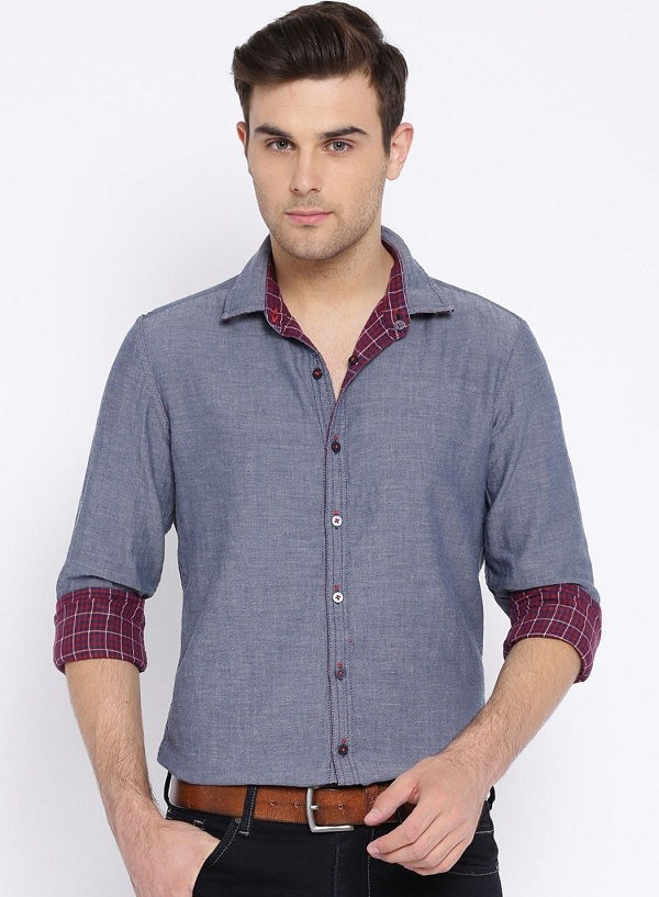 harvard blue maroon reversible casual shirt