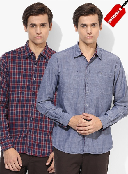 lee red blue checked reversible shirt