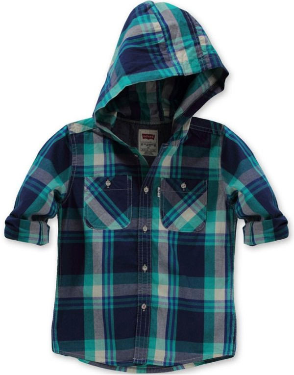 levis dark blue checkered hooded shirt