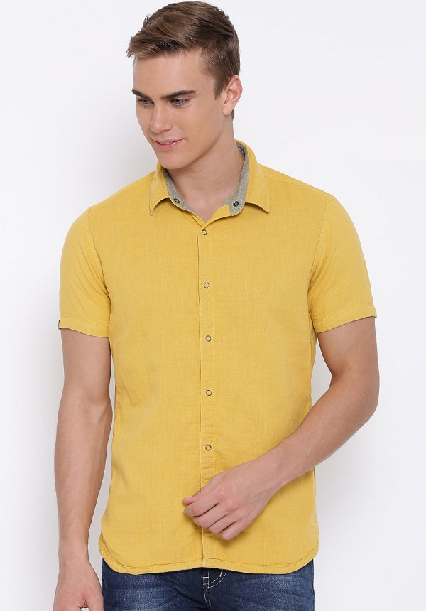 numero uno mustard yellow reversible casual shirt