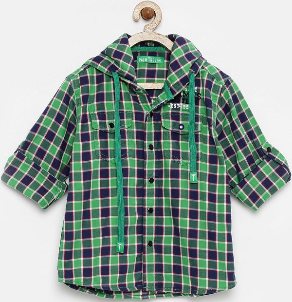 palm tree green checked hooded shirt