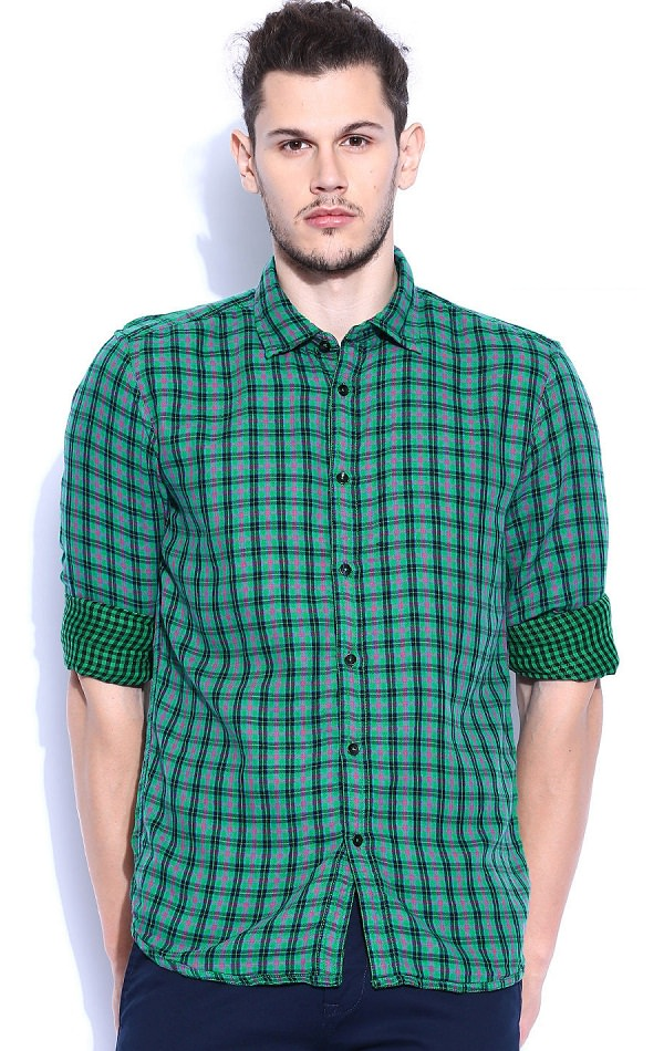 parx green checked revrsible casual shirt