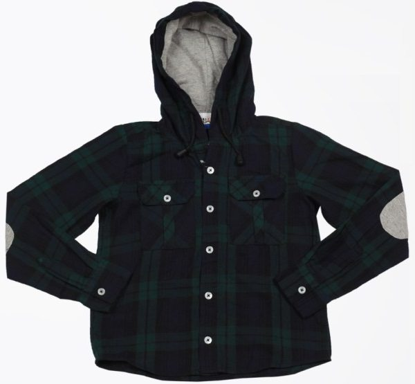 people navy blue checks hooded shirt