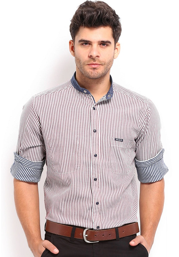 pepe jeans maroon blue striped reversible shirt