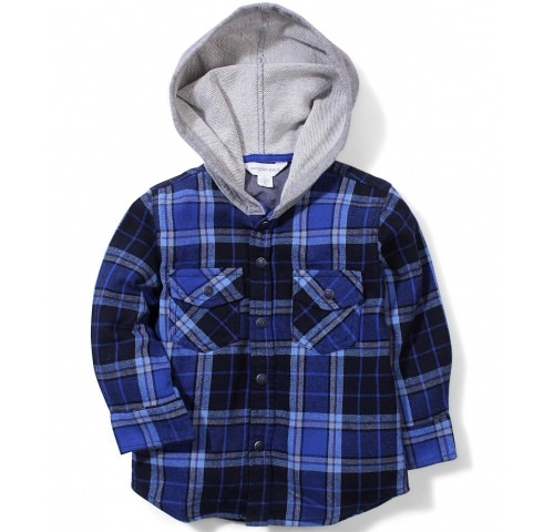 pumpkin blue checked hooded shirt