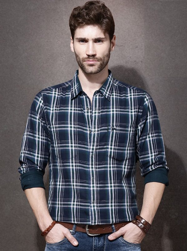 roadster navy blue green checked reversible casual shirt
