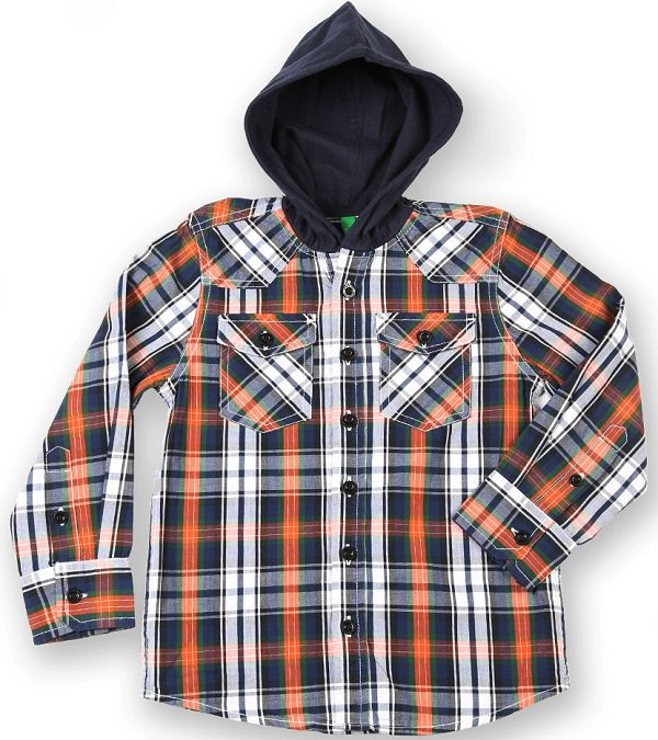 united color of benetton blue checks hooded shirt