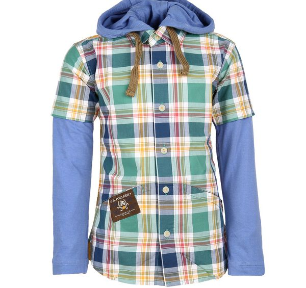 uspolo assn multicolor checked hooded shirt