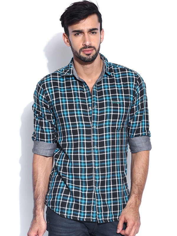 wrangler blue grey checked reversible shirt