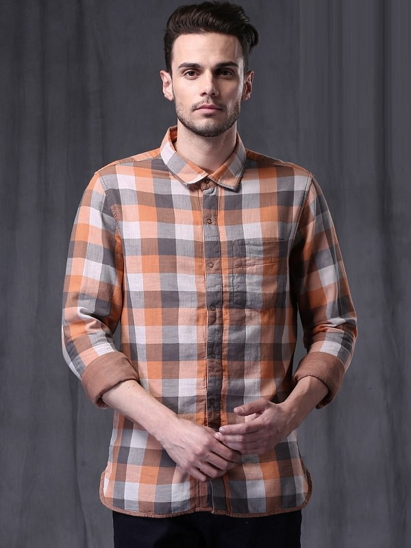 wrogn gray orange checks reversible casual shirt