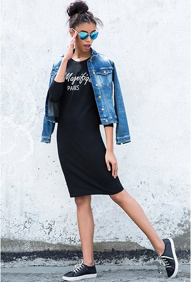 bodycon dress with denim jacket