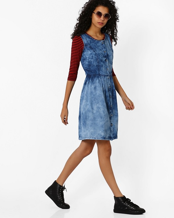 denim dress with striped tee