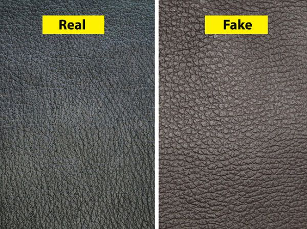 surface test of real vs fake leather purses