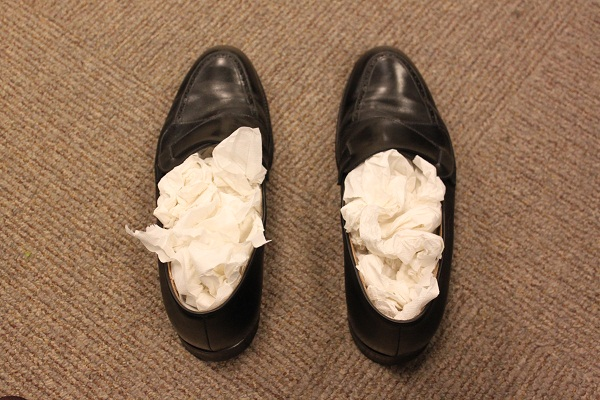 ward off unwanted moisture from shoes by padding them with newspapers