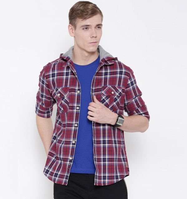 Flying machine maroon navy checked hooded casual Hooded Shirts for Men