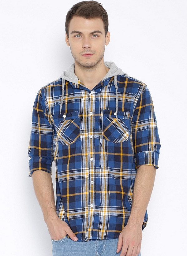 Sf jeans pantaloon blue checkes Regular Fii hoooded shirt