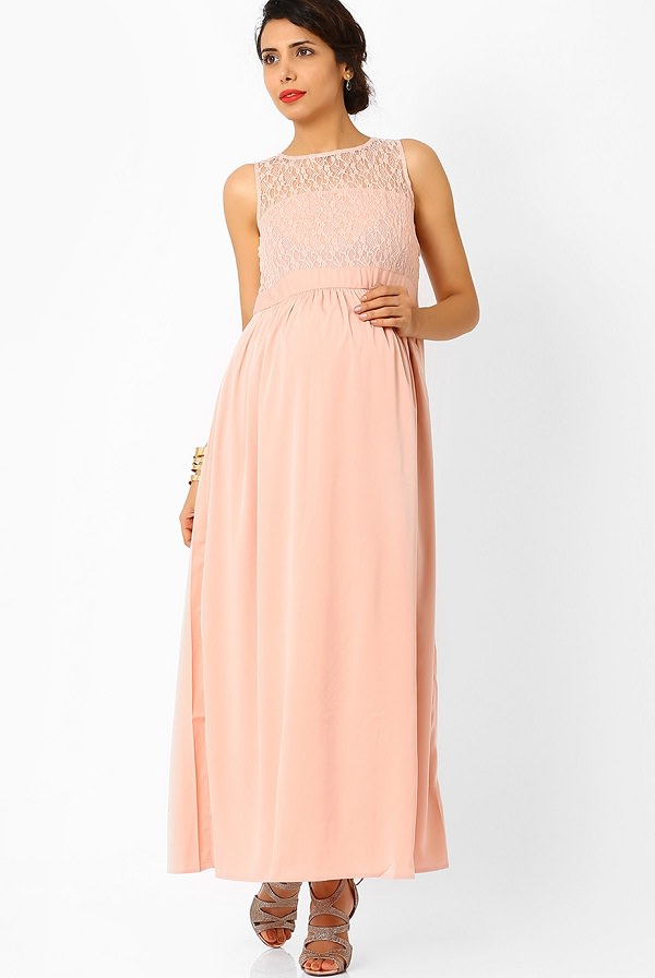 pink polyester maternity maxi dress