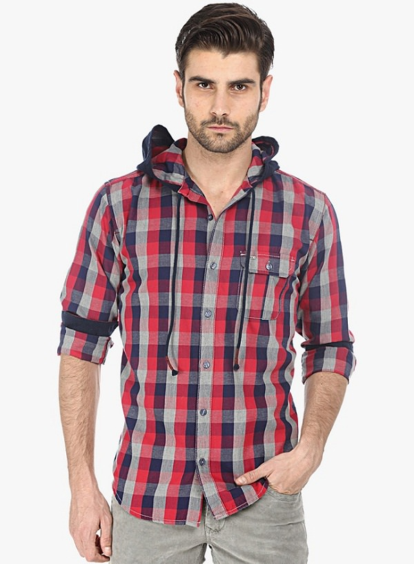 basics red checks hooded shirt