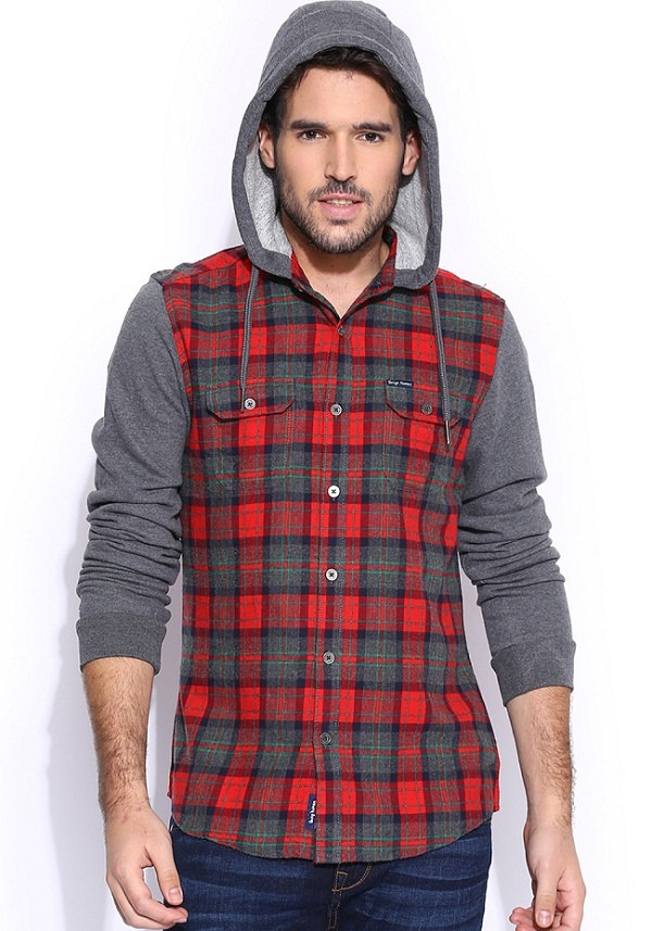 being human gray red hooded shirt