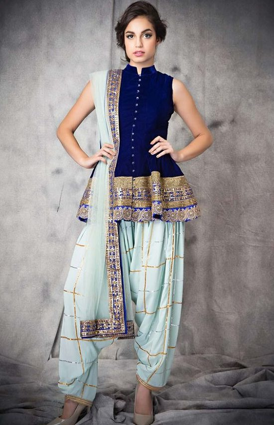 Blue Semi-Stitched Party Wear Frock Style Salwar Suit with Net dupatta