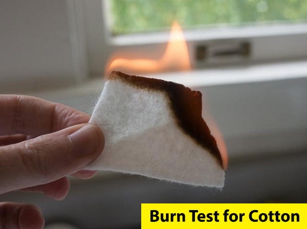 how to identify cotton fabric, cotton burn test results