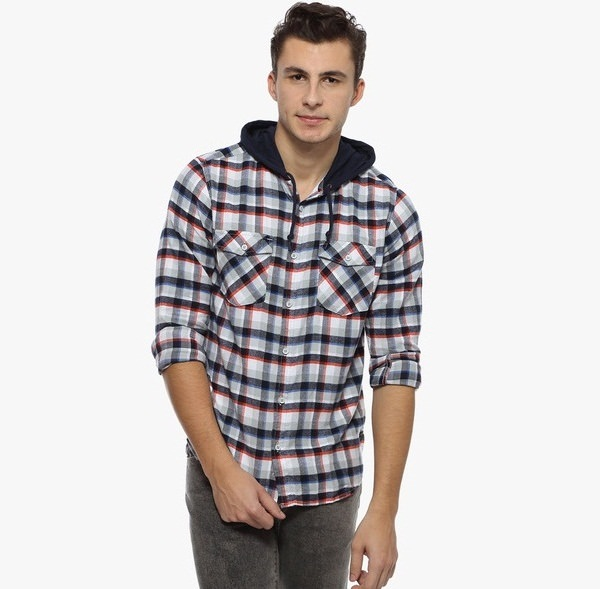 derby jeans community multicoloured checked slim fit casual-Hooded Shirts for Men
