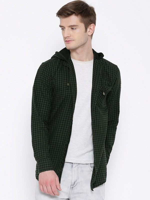best fifty two Green Black Checked Casual Shirt