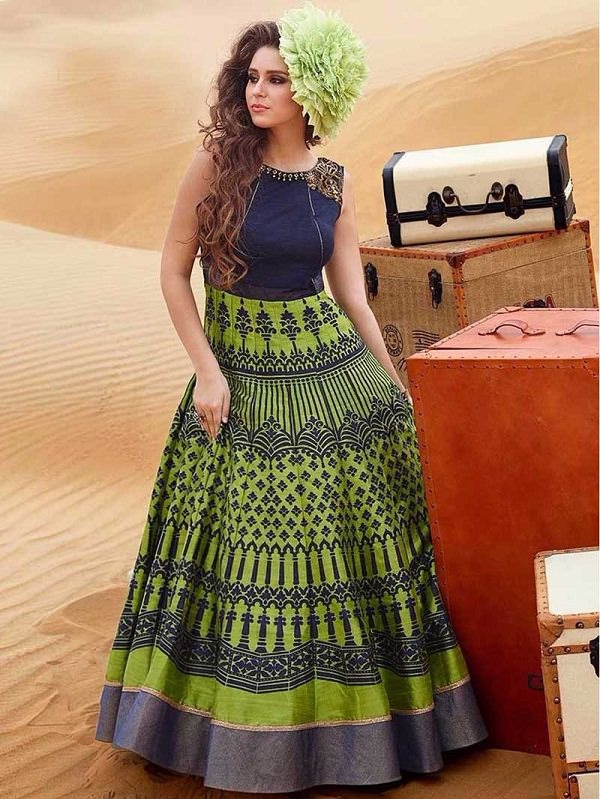 Designer Green Cotton Printed Partywear Long Anarkali Salwar Suit