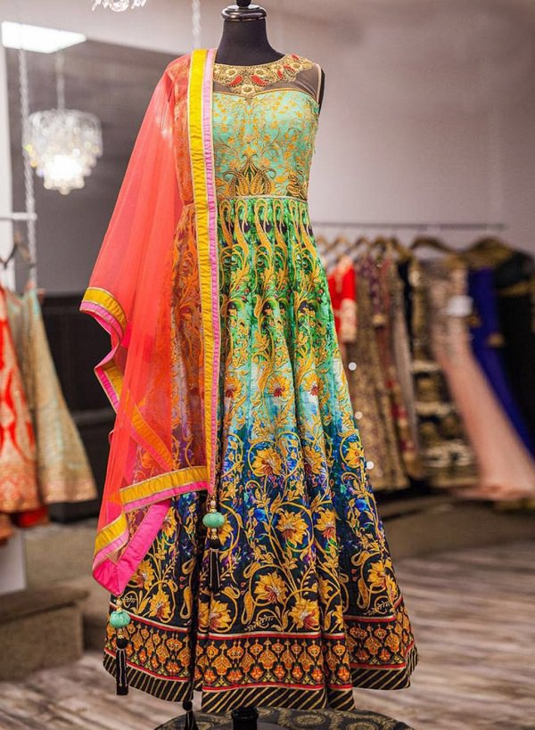 Multicolor Khatli Work Sleeveless Long Anarkali Frock Salwar Suit