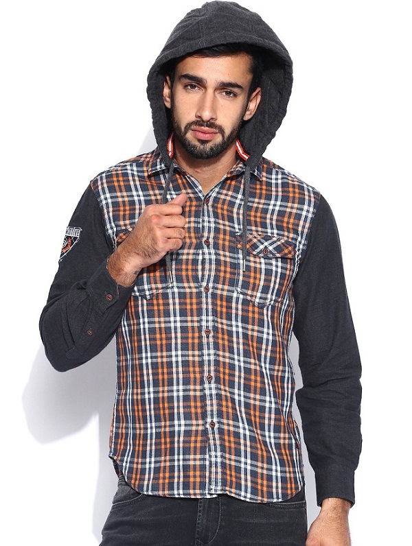 locomotive brown checked hooded shirt for men