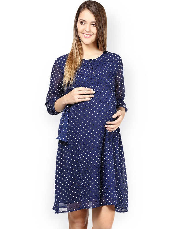 navy blue colored 3/4 sleeve printed shift dress