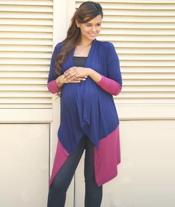 pink and blue stretch maternity cardigan