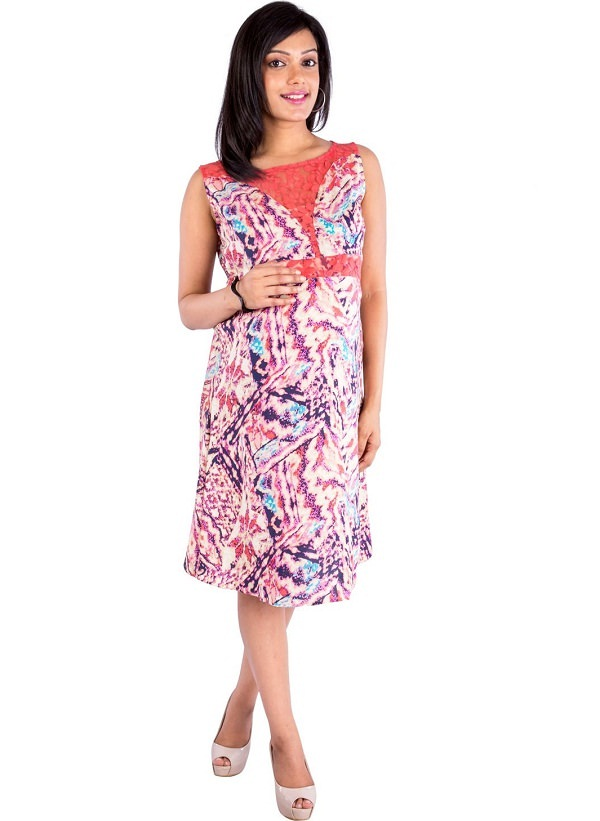 multicolor sleeveless marble print maternity dress