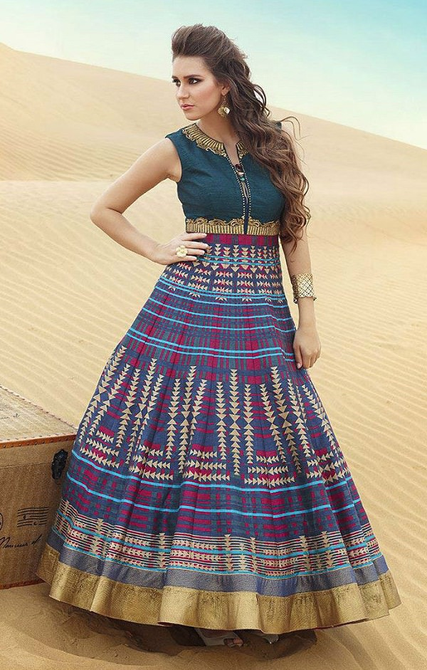 Multicolor Bollywood Replica Gown Style Frock Suit