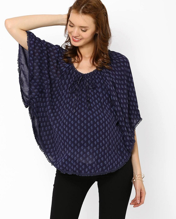 blue printed maternity poncho top
